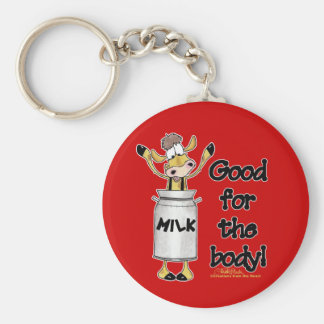 Cow in Milk Can Basic Round Button Key Ring