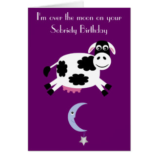Cow Jumping Over The Moon Custom Purple Sobriety Cards