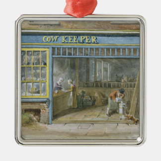 Cow Keeper, 1825 Silver-Colored Square Decoration