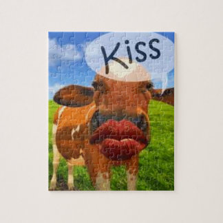 Cow kiss! Cute and entertaining! Jigsaw Puzzle