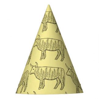 Cow Line Art Design Party Hat
