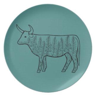 Cow Line Art Design Plate