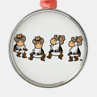 Cow Line dancin' Christmas Ornament