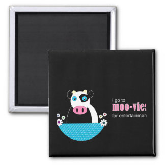 Cow Movies Square Magnet