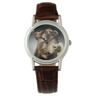 Cow_Munching_Popout_Art_Ladies_Brown_Leather_Watch Watch