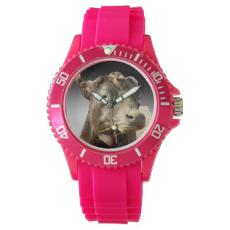 Cow_Munching_Popout_Art_Ladies_Pink_Sports_Watch Watch