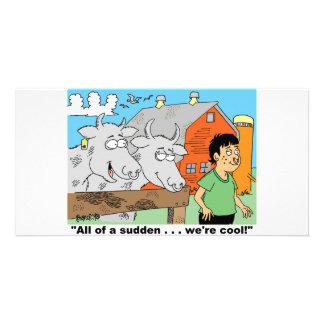 COW / NOSE RING / FARMER KID CARTOON GIFTWARE PHOTO CARD TEMPLATE