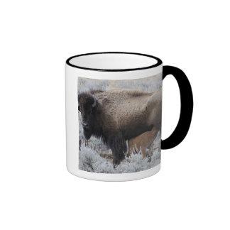 Cow Nursing Bison Calf, Yellowstone Mug
