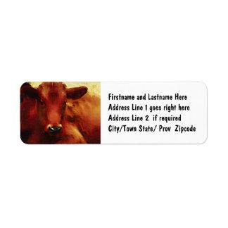 Cow Oil Painting Portrait Return Address Label