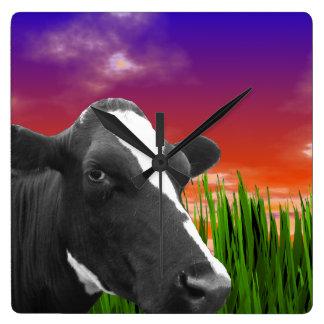 Cow On Grass & Vivid Sunset Sky Clock