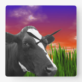 Cow On Grass & Vivid Sunset Sky Square Wall Clock
