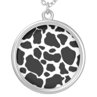 cow ornament silver plated necklace
