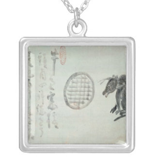 Cow, Oval Window and Haiku Silver Plated Necklace