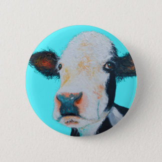 Cow painting on blue background 6 cm round badge