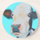Cow painting on blue background coaster