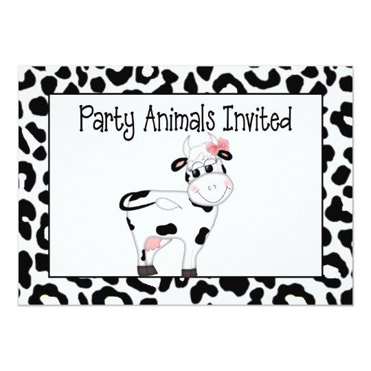 Cow Party Animal Birthday Invitation