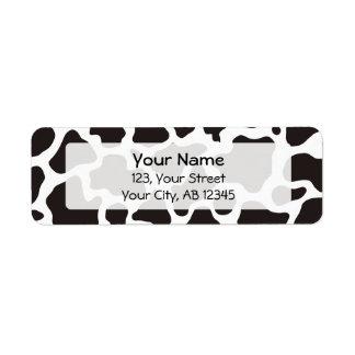 Cow pattern background return address label