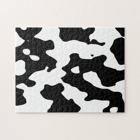 Cow Pattern Black and White Jigsaw Puzzle