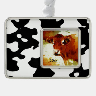Cow Pattern Black and White Silver Plated Framed Ornament