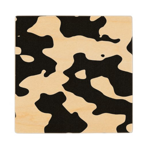 Cow Pattern Black and White Spots Maple Wood Coaster