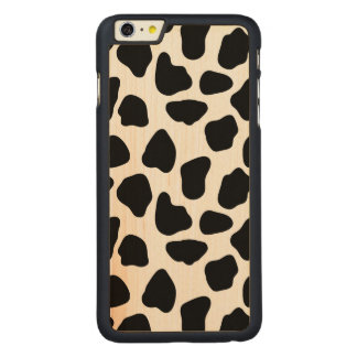 Cow pattern carved maple iPhone 6 plus case