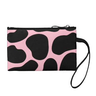 Cow Pattern in Pink and Black. Coin Purse