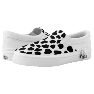 Cow pattern slip on shoes