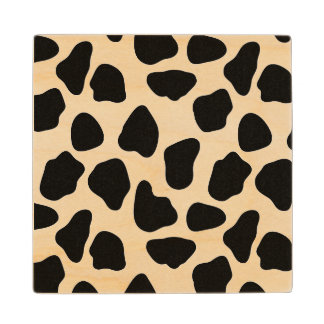 Cow pattern wood coaster
