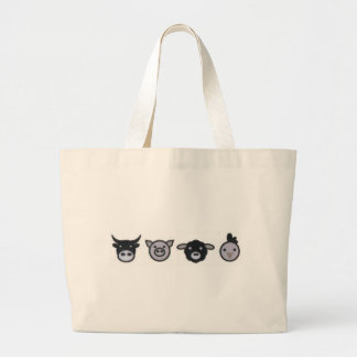 cow pig sheep chicken large tote bag