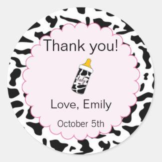 Cow Pink Baby Shower Thank You Label/Sticker Round Sticker