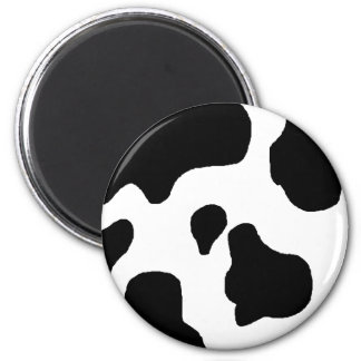 Cow print black and white blotchy pattern 6 cm round magnet