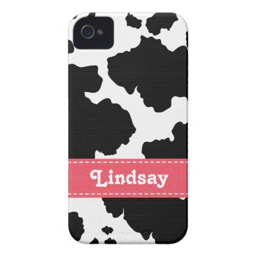 Cow Print Blackberry Bold Case Pink