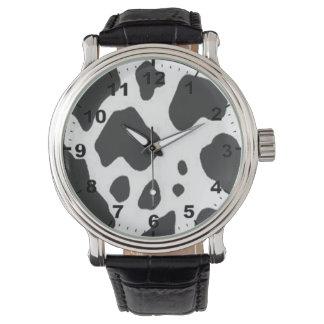 """Cow print"" design wrist watch"
