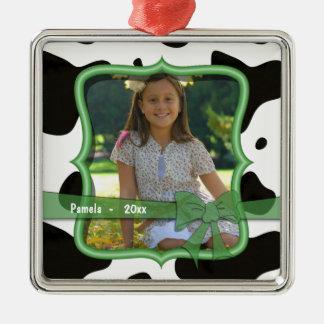 Cow Print Green Bow Dated Photo Keepsake Ornament