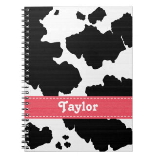 Cow Print Notebook Journal Pink Ribbon
