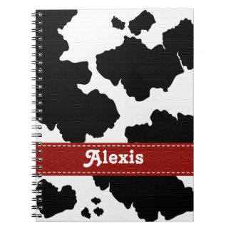 Cow Print Notebook Journal Red Ribbon