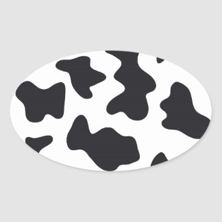 Cow Print Oval Sticker
