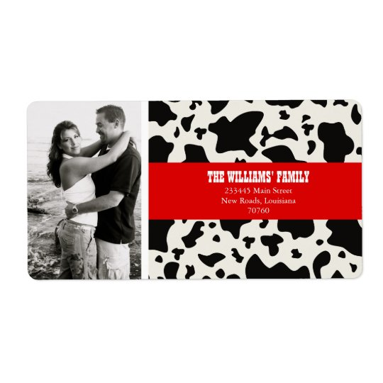 Cow Print Shipping Label