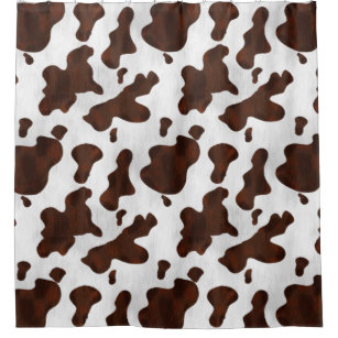 Cow Print Spotted Cowhide Faux Western Leather Shower Curtain