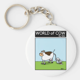 Cow Printer Basic Round Button Key Ring
