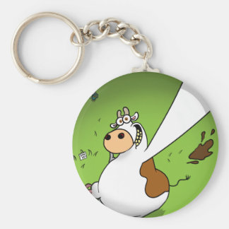 Cow Profile Pic Basic Round Button Key Ring