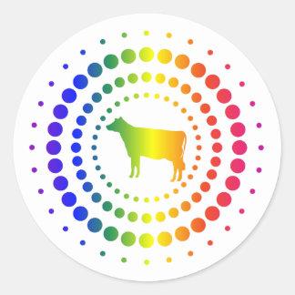 Cow Rainbow Studs Round Sticker