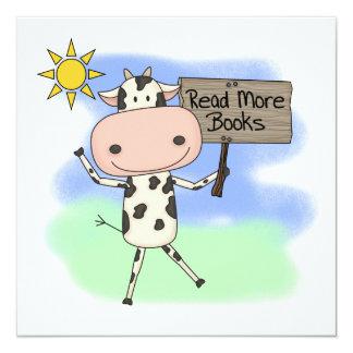 Cow Read More Books 13 Cm X 13 Cm Square Invitation Card