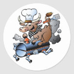 Cow Riding A BBQ Stickers