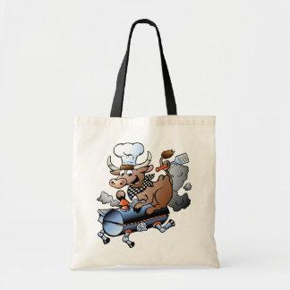 Cow Riding A BBQ Tote Bag