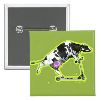 Cow Riding a Scooter 15 Cm Square Badge