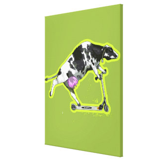 Cow Riding a Scooter Canvas Prints