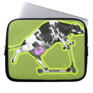 Cow Riding a Scooter Laptop Sleeve