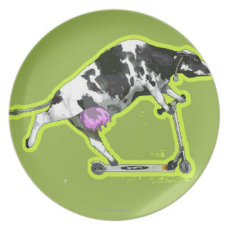 Cow Riding a Scooter Plate