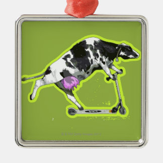 Cow Riding a Scooter Silver-Colored Square Decoration